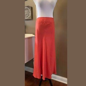 Talbots Women's 100% Irish Linen Full Skirt Orange